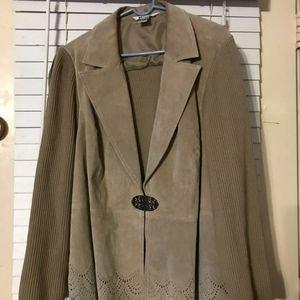 Tan Suede Sweater Jacket Sz 2x